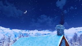 House roof with smoking chimney at winter night 4K