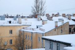 Snow-covered roofs Stock Photo