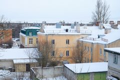 snow-covered roofs Stock Images