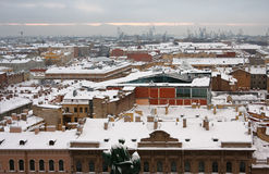 Snow covered roofs of St. Petersburg Stock Photos