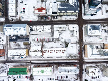 Snow-covered roofs of urban building and central streets of Lappeenranta city, Finland, Europe. Top view from drone Stock Image