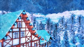 Alpine house attic at winter night in watercolor. Snow covered rooftop and attic of half-timbered rural house illuminated by christmas lights high in alpine royalty free stock image