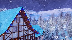 Half-timbered mountain house at snowy winter night. Snow covered rooftop of traditional half-timbered european rural house high in snowy alpine mountains at royalty free illustration