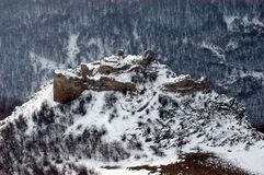 Snow covered ruins of a fortification, Romania Stock Images