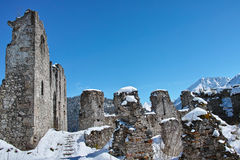 Snow-covered ruins scenery Stock Images