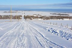 Snow covered rural road Royalty Free Stock Image