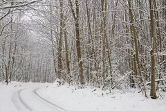 Snow covered rural scene in Kent England. Royalty Free Stock Photography