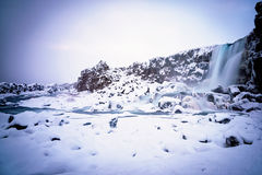 Snow covered scene at Thingvellir National Park Royalty Free Stock Photography