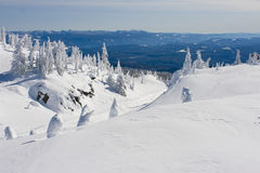 Snow Covered Scenic at Ski Resort. A snow covered landscape showing a ski resort landscape in canada Stock Photography