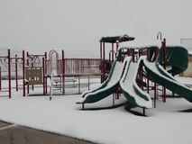 Snow covered school playground. Stock Photo