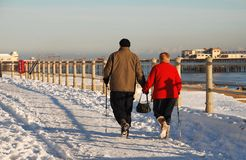 Snow covered seafront, St.Leonards-on-Sea Royalty Free Stock Image