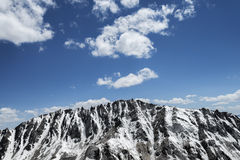 Snow covered sharp mountain ridge Royalty Free Stock Photo