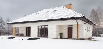Snow covered single family house. Front of snow covered single family house in forest Royalty Free Stock Photography