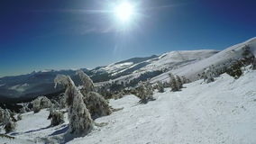 Snow-covered slope and ate stock video footage