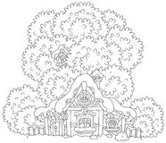 Snow-covered small hut. Black and white vector illustration of a small country house with a thatched roof under snow on Christmas Stock Photo