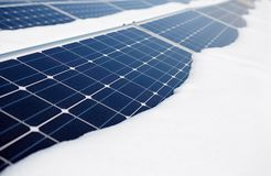 Snow-covered solar panel Royalty Free Stock Images