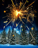 Snow covered spruce trees and sparkler - christmas Royalty Free Stock Photos