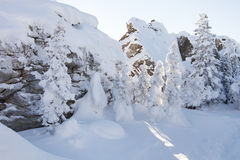 Snow covered spruces and rocks. Mountain Zyuratkul, winter lands Royalty Free Stock Photo