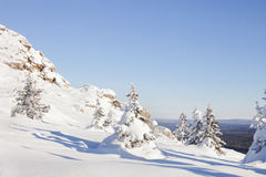 Snow covered spruces and rocks. Mountain Zyuratkul, winter lands Royalty Free Stock Images