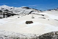 On the snow-covered St Gotthard Pass, Switzerland Royalty Free Stock Photos