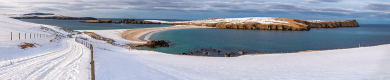 Snow covered St. Ninian's beach panorama Royalty Free Stock Images