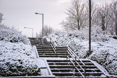 Snow covered stair flyover in Milton Keynes. UK winter Royalty Free Stock Images