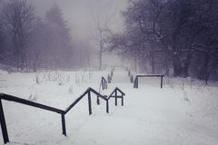 Snow covered stairs and railings. On a misty day in winter Stock Photos