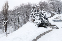 Snow-covered stairs Stock Photography