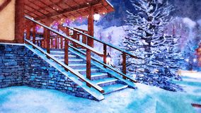 Porch of rural house at winter night in watercolor. Snow covered steps on entrance to rural house illuminated by christmas lights in snowbound alpine mountain stock photos