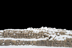 Snow Covered Stone Wall Stock Photos