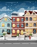 Snow-covered street with colorful houses fire hydrant lights bench and bushes in vases cartoon style  illustration website p. Age and mobile app design Stock Photo