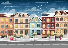 Snow-covered street with colorful houses fire hydrant lights bench red mailbox and bushes in vases cartoon style vector illustrati. On website page and mobile Stock Image