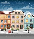 Snow-covered street with colorful houses lights bench red mailbox and bushes in vases cartoon style vector illustration website pa. Ge and mobile app design stock photography