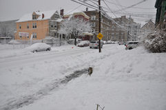 Snow covered street Royalty Free Stock Photos
