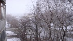On snow-covered the street during a snowfall in slowmotion. Changes focus from blurred. 1920x1080. Hd stock footage