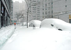 Snow covered street after snowstorm, New York City Royalty Free Stock Photography