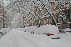 Snow covered street after snowstorm, New York City Royalty Free Stock Photo