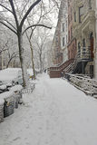 Snow covered street after snowstorm, New York City Royalty Free Stock Images