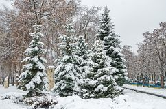 Snow-covered streets of city Stock Photography