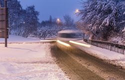Snow Covered Streets of United Kingdom. Queensway Road, Telford, United Kingdom.10th of December 2017. Risky driving after heavy snowfall royalty free stock photos