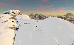 Snow covered summit in the evening. Snow covered mountain at nightfall with pink clouds in the background and a distant mountain range Royalty Free Stock Images