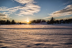 Snow Covered Sunset Royalty Free Stock Photo