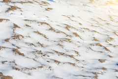 Snow-covered surface of sandy desert, global cooling. Snow-covered surface of sandy desert, global cooling Stock Photo