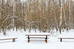 Snow covered table and benches on recreation area Royalty Free Stock Photos