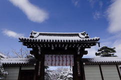 Snow covered temple, winter in Kyoto Japan Stock Photography