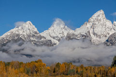 Snow Covered Teton Range in Fall Stock Photography