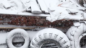 Snow covered tires stock video