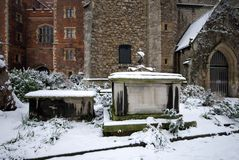 Snow-covered Tombs, Lambeth Palace. Snow-covered tombs in the grounds of Lambeth Palace, London, England Stock Photos
