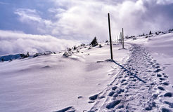 Snow-covered tourist trail in the Giant Mountains Royalty Free Stock Image