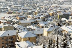 Snow covered town. Stock Photos